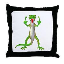 Gecko Lizard Flipping Off Throw Pillow
