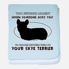 Skye Terrier dog funny designs baby blanket