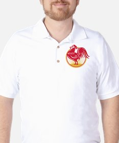 Rooster Cockerel Crowing Retro T-Shirt
