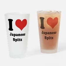 I Heart Japanese Spitz Drinking Glass