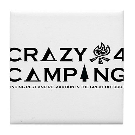 Crazy For Camping Logo Merchandise Tile Coaster