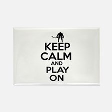 Keep calm and play Ice Hockey Rectangle Magnet