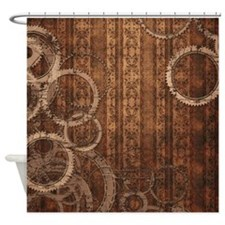 Steampunk Gears and Wallpaper Shower Curtain