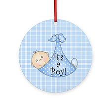 It's a Boy (White) Ornament (Round)