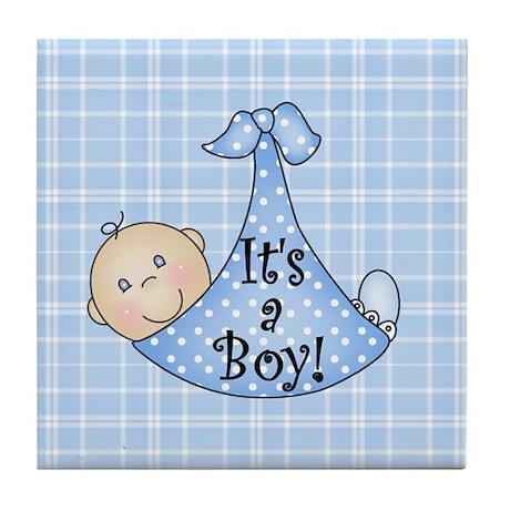 It's a Boy (White) Tile Coaster