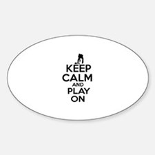 Keep calm and play Curl Sticker (Oval)