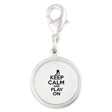 Keep calm and play Curl Silver Round Charm