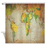 World map shower curtain Shower Curtains