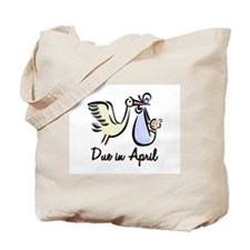 Due In April Stork Tote Bag