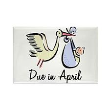 Due In April Stork Rectangle Magnet