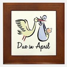 Due In April Stork Framed Tile
