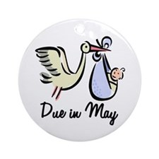 Due In May Stork Ornament (Round)