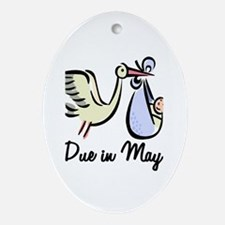Due In May Stork Oval Ornament
