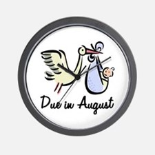 Due In August Stork Wall Clock