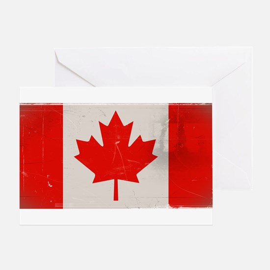 antiqued Canadian flag Greeting Card