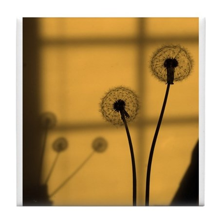 Golden Dandelion Tile Coaster