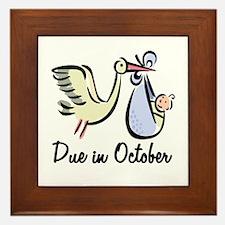 Due In October Stork Framed Tile