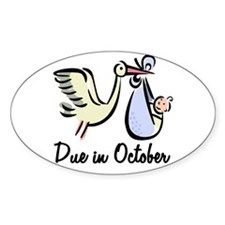 Due In October Stork Oval Decal