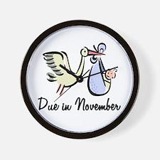 Due In November Stork Wall Clock