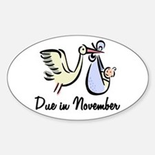Due In November Stork Oval Decal
