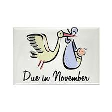 Due In November Stork Rectangle Magnet