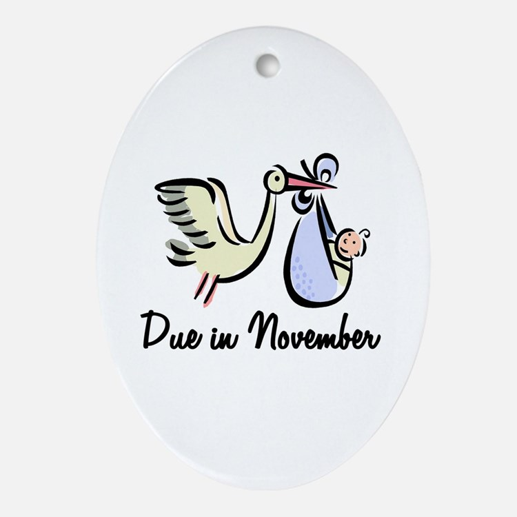Due In November Stork Oval Ornament