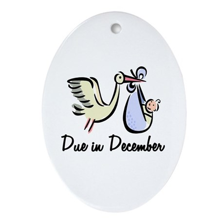 Due In December Stork Oval Ornament