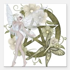 Wiccan Pentacle Beautiful Fairy Square Car Magnet