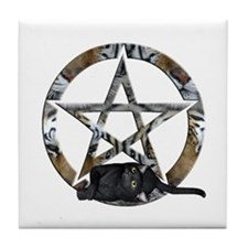 Wiccan Pentacle With Black Cat Tile Coaster
