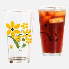 Yellow Summer Flowers Drinking Glass