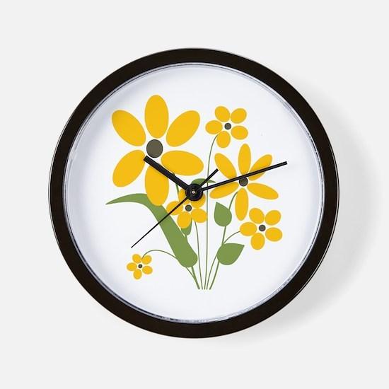Yellow Summer Flowers Wall Clock