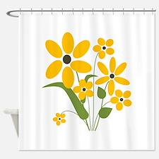 Yellow Summer Flowers - Shower Curtain