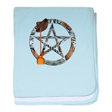 Wiccan Pentacle with Broom baby blanket