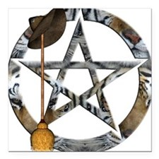 """Wiccan Pentacle with Broom Square Car Magnet 3"""" x"""
