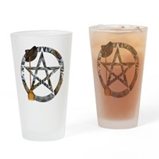 Wiccan Pentacle with Broom Drinking Glass