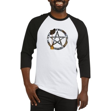 Wiccan Pentacle with Broom Baseball Jersey