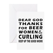Beer Women And Curling Greeting Card