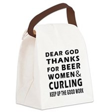 Beer Women And Curling Canvas Lunch Bag