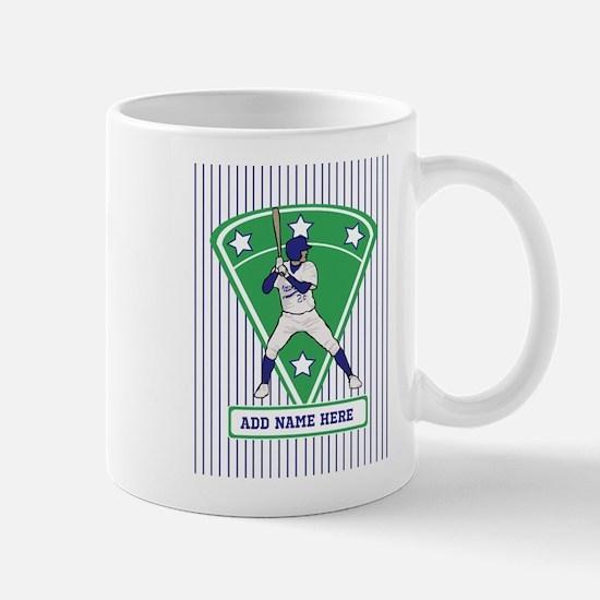 Personalized Blue Baseball star player Mug