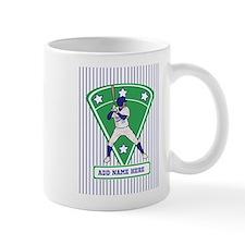Personalized Blue Baseball star player Small Mug
