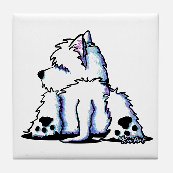 Cool Belly Westie Tile Coaster