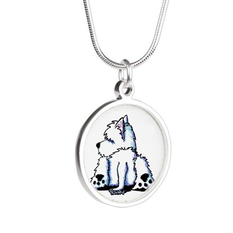Cool Belly Westie Silver Round Necklace