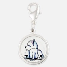 Cool Belly Westie Silver Round Charm