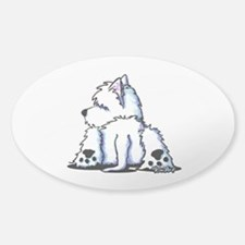 Cool Belly Westie Sticker (Oval)