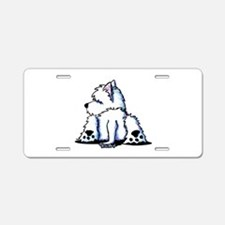 Cool Belly Westie Aluminum License Plate