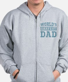 World's Okayest Dad [v. blue] Zip Hoodie