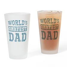 World's Okayest Dad [v. blue] Drinking Glass