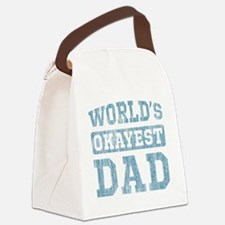 World's Okayest Dad [v. blue] Canvas Lunch Bag