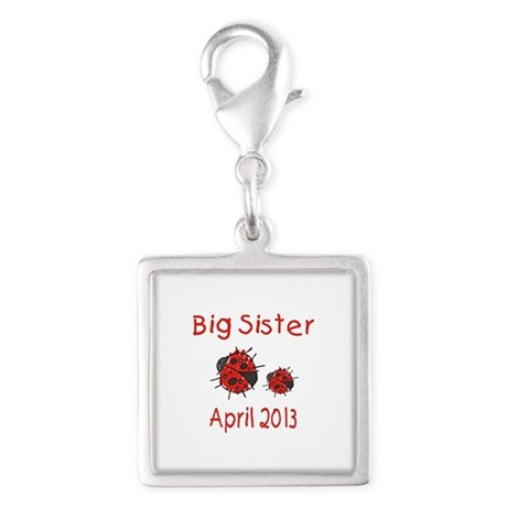 Big Sister Ladybugs 0413 Silver Square Charm