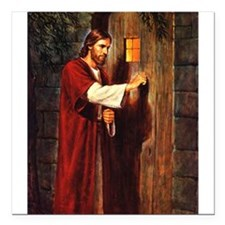 """Christ at your hearts door Square Car Magnet 3"""" x"""